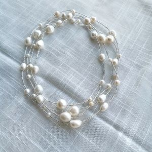 NWT Freshwater Baroque Pearl Necklace long short